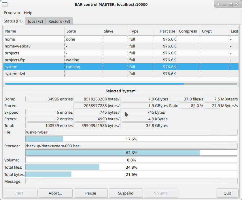 BAR - backup archiver program